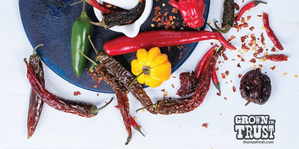 Dried peppers on plate