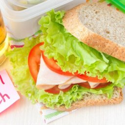 School lunch - sandwich with juice