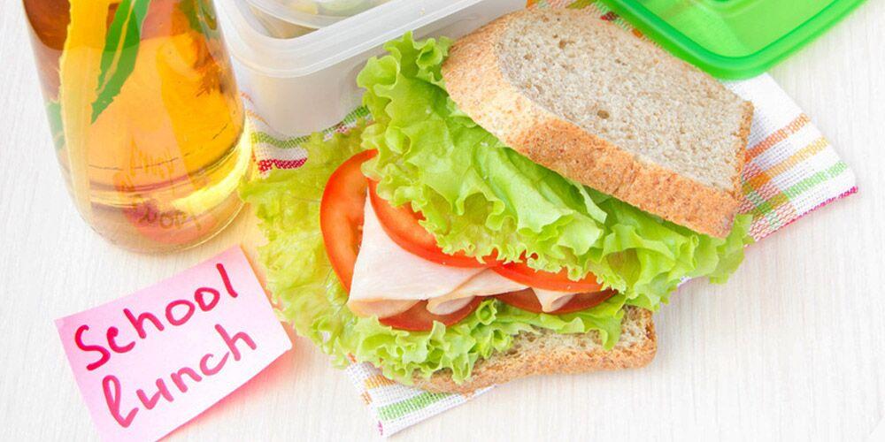 School lunch - sandwich with juice