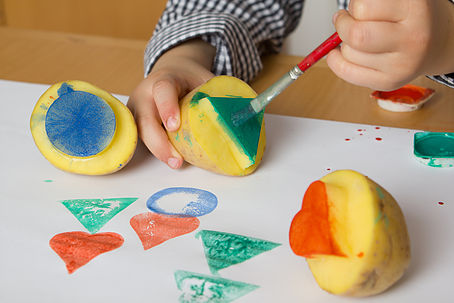 Painting potato stamps