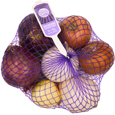 3 lb bag Tri-Coloured Onions - Thomas Fresh