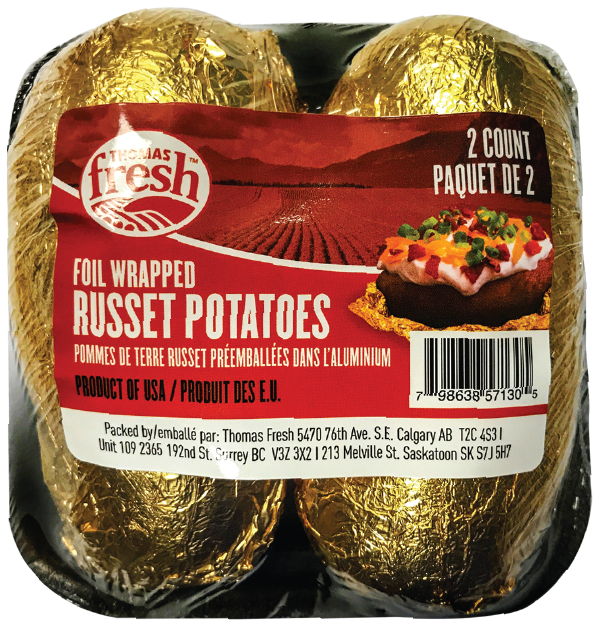 Thomas Fresh - 2 count tray foil wrapped russet potatoes